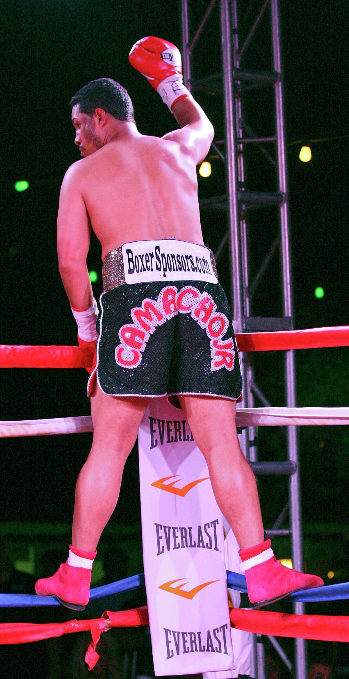 Hector Camacho Jr. celebrates his first round knockout of Jon David Charles Saturday June 23, 2012 at Maverick Plaza in La Villita.