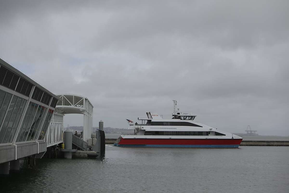 The ferry Pisces leaves the Oyster Point Marina Ferry Terminal after the San Francisco Bay Ferry South San Francisco Inaugural Celebration on Monday, June 4, 2012 in South San Francisco.
