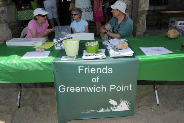Friends of Greenwich Point during Experience the Sound Sunday, June 24, 2012. The sixth annual event was held by the Greenwich Shellfish Commission to coincide with the opening of the Bruce Museum's Seaside Center at the Innis Arden Cottage at Greenwich Point. Photo: Helen Neafsey / Greenwich Time