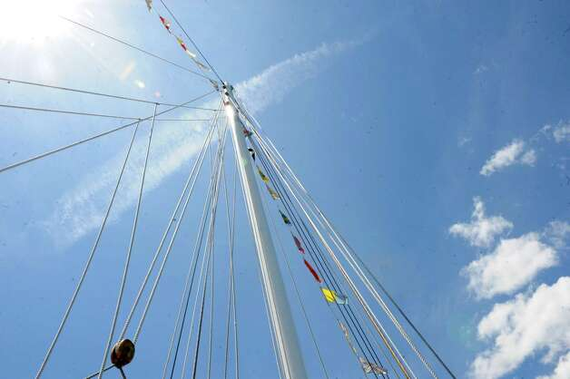 The mast of SoundWaters schooner during Experience the Sound Sunday, June 24, 2012. The sixth annual event was held by the Greenwich Shellfish Commission to coincide with the opening of the Bruce Museum's Seaside Center at the Innis Arden Cottage at Greenwich Point. Photo: Helen Neafsey / Greenwich Time