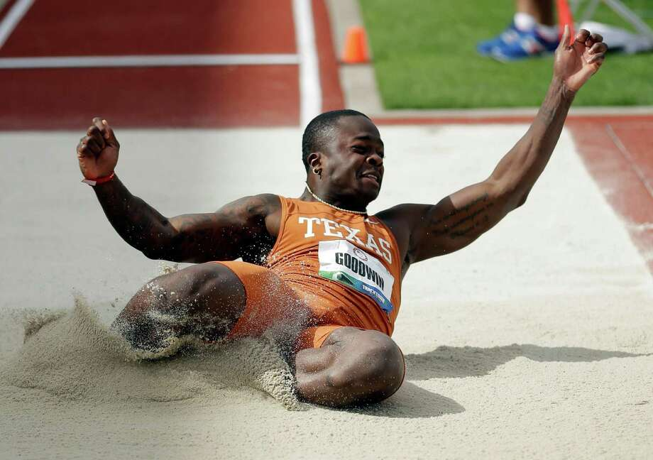Marquise Goodwin participates in the men's long jump finals at the U.S. Olympic Track and Field Trials Sunday, June 24, 2012, in Eugene, Ore. Photo: AP