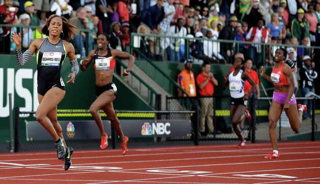 Sanya Richards-Ross reacts after the women's 400m finals at the U.S. Olympic Track and Field Trials Sunday, June 24, 2012, in Eugene, Ore. Photo: AP
