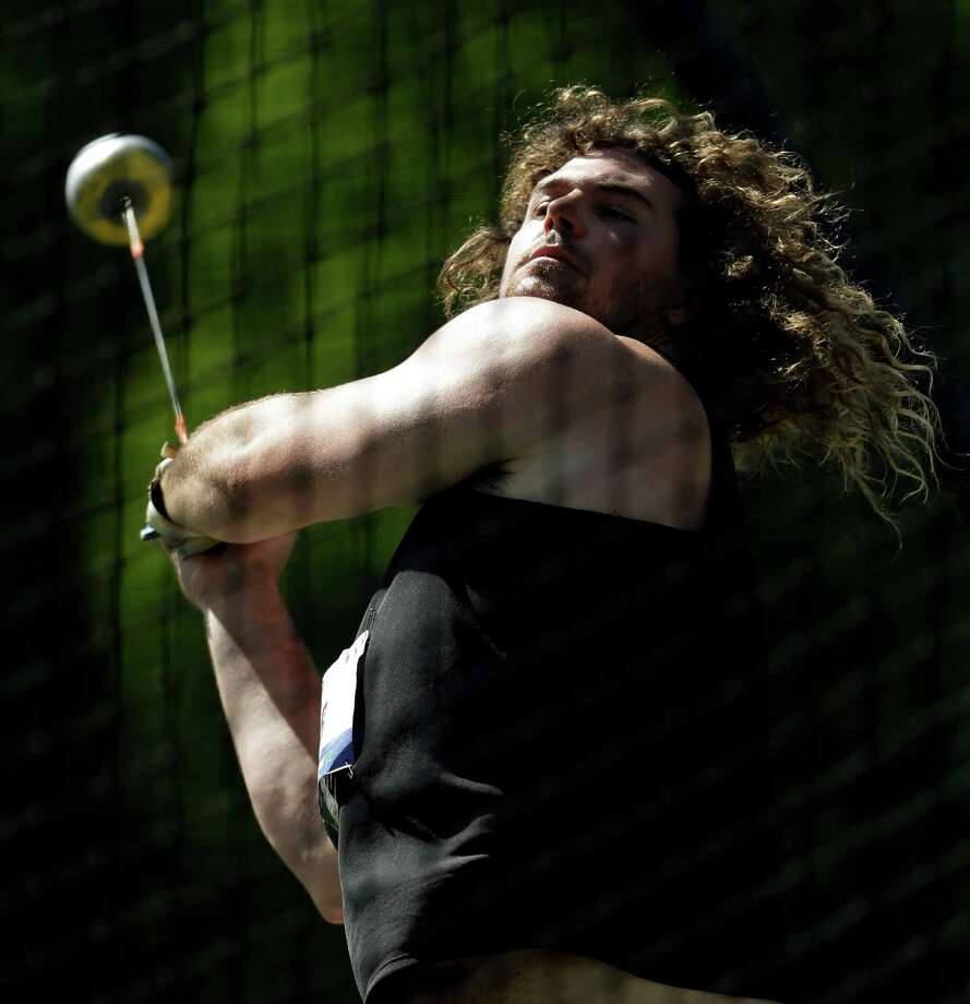 Colin Dunbar competes at the men's hammer throw qualifying round at the U.S. Olympic Track and Field Trials Thursday, June 21, 2012, in Beaverton, Ore. (AP Photo/Morry Gash) Photo: Associated Press