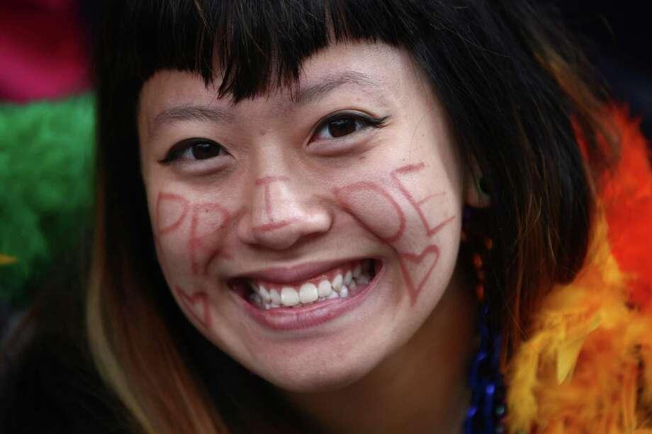 Miyuki Wong wears a Pride message. Photo: JOSHUA TRUJILLO / SEATTLEPI.COM