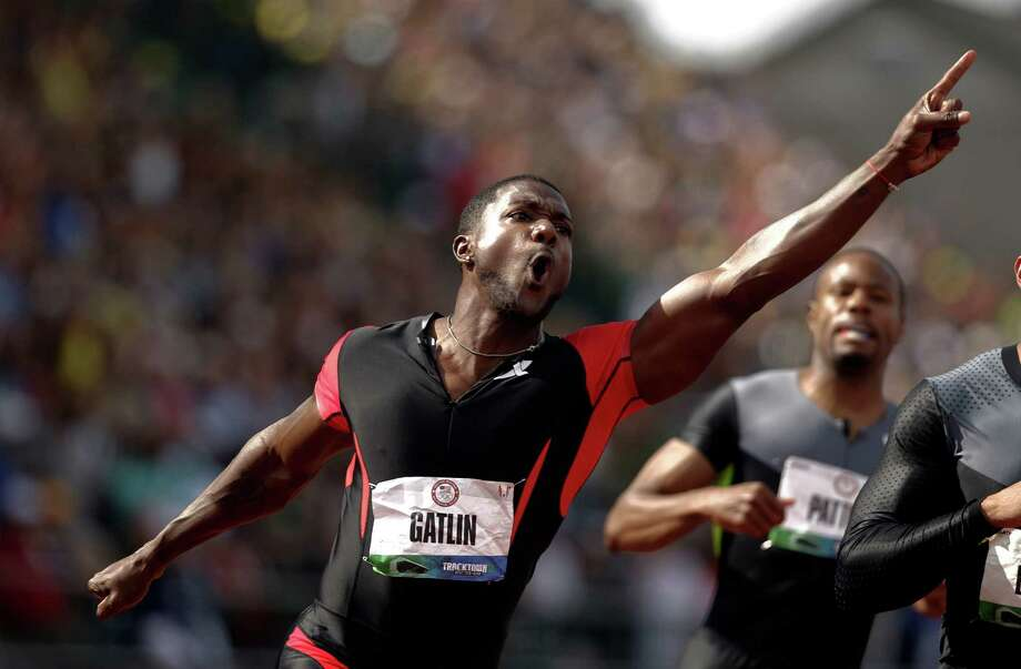Justin Gatlin reacts after winning the men's 100m finals at the U.S. Olympic Track and Field Trials Sunday, June 24, 2012, in Eugene, Ore. Photo: Marcio Jose Sanchez, Associated Press / AP