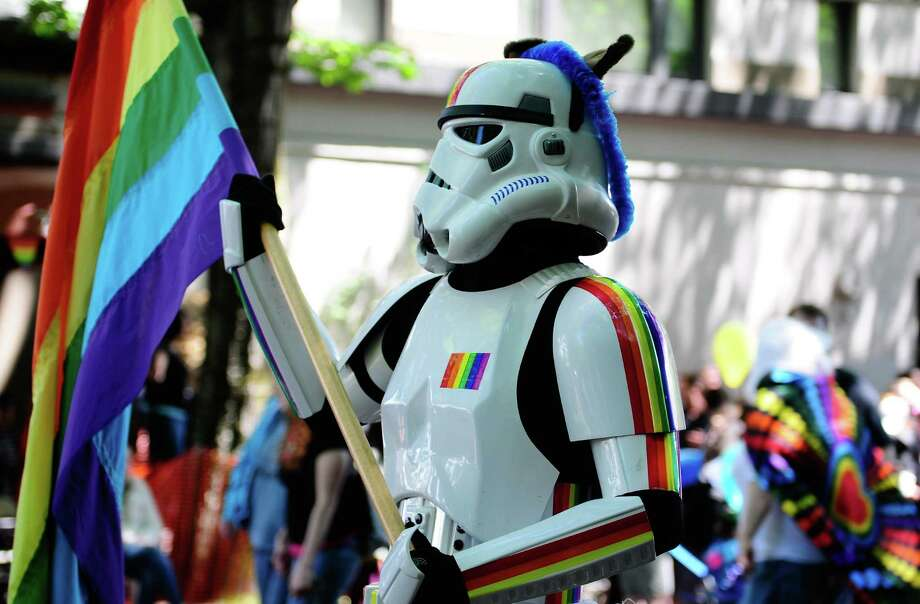 A rainbow-themed stormtrooper participates. Photo: LINDSEY WASSON / SEATTLEPI.COM