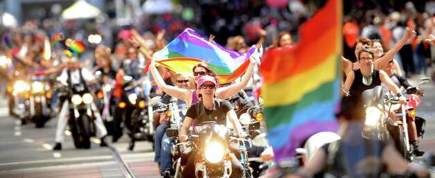 """A contingent of """"Dykes of Bikes"""" kicks off San Francisco's 42nd annual gay pride parade on Sunday, June 24, 2012.  Read more: http://www.timesunion.com/news/article/Thousands-march-for-gay-pride-in-San-Francisco-3659476.php#ixzz1ymUsaNJ8"""