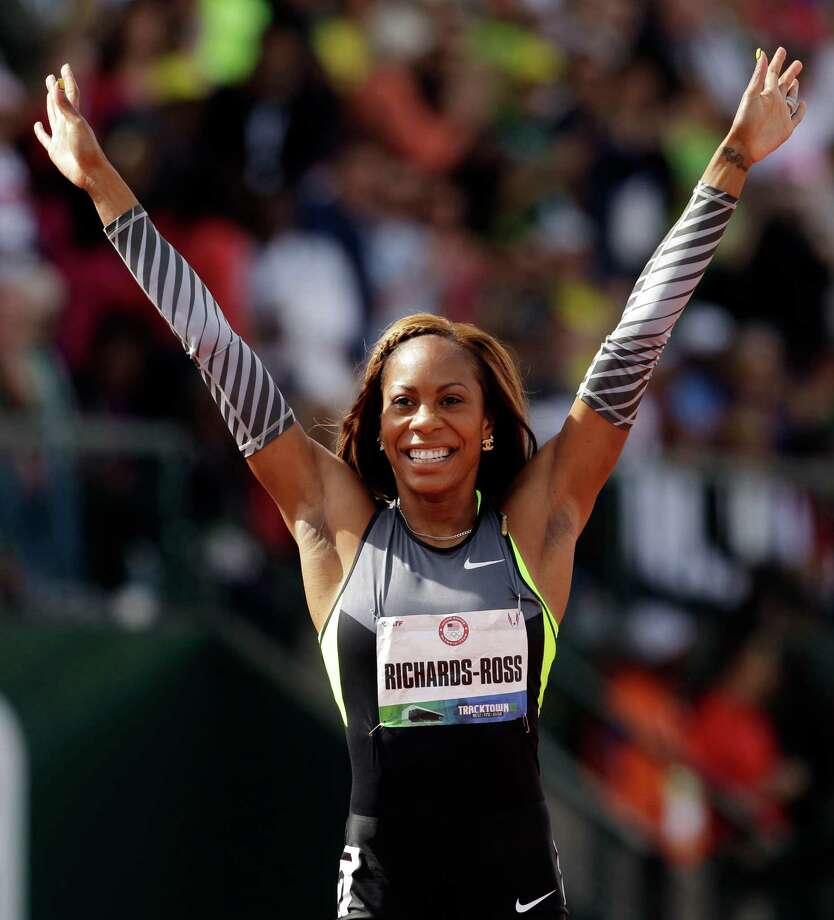 Sanya Richards-Ross reacts after the women's 400m finals at the U.S. Olympic Track and Field Trials Sunday, June 24, 2012, in Eugene, Ore. Photo: Marcio Jose Sanchez / AP