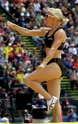 Becky Holiday reacts after a vault in the women's pole vault at the U.S. Olympic Track and Field Trials Sunday, June 24, 2012, in Eugene, Ore. (AP Photo/Charlie Riedel) Photo: Associated Press