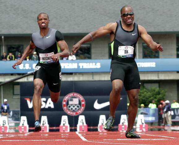 Walter Dix grimaces as he crosses the finish line during a men's 100m semi final at the U.S. Olympic Track and Field Trials Sunday, June 24, 2012, in Eugene, Ore. (AP Photo/Eric Gay) Photo: Associated Press