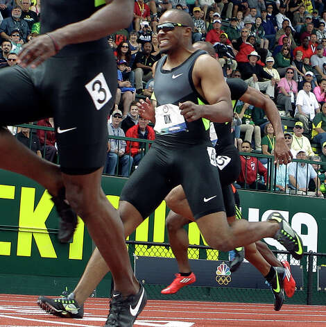 Walter Nix grimaces as he crosses the finish line during a men's 100m semi final at the U.S. Olympic Track and Field Trials Sunday, June 24, 2012, in Eugene, Ore. (AP Photo/Matt Slocum) Photo: Associated Press