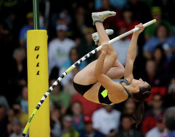 Melissa Gergel compete in the women's pole vault at the U.S. Olympic Track and Field Trials Sunday, June 24, 2012, in Eugene, Ore. (AP Photo/Matt Slocum) Photo: Associated Press