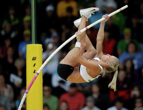 Mary Saxer competes in the women's pole vault at the U.S. Olympic Track and Field Trials Sunday, June 24, 2012, in Eugene, Ore. (AP Photo/Charlie Riedel) Photo: Associated Press