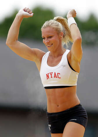 Mary Saxer reacts after a vault in the women's pole vault at the U.S. Olympic Track and Field Trials Sunday, June 24, 2012, in Eugene, Ore. (AP Photo/Charlie Riedel) Photo: Associated Press