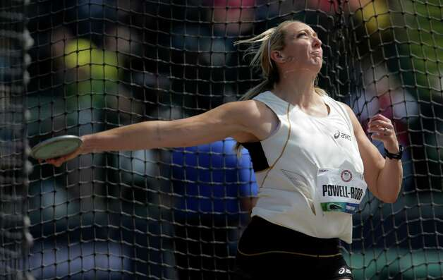 Suzy Powell-Roos competes during the women's discus throw finals at the U.S. Olympic Track and Field Trials Sunday, June 24, 2012, in Eugene, Ore. (AP Photo/Matt Slocum) Photo: Associated Press