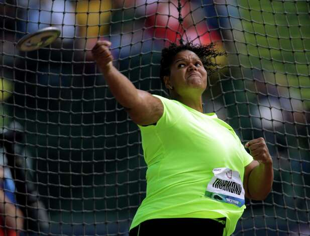 Aretha Thurmond competes during the women's discus throw finals at the U.S. Olympic Track and Field Trials Sunday, June 24, 2012, in Eugene, Ore. (AP Photo/Matt Slocum) Photo: Associated Press