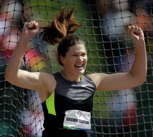 Stephanie Brown Tafton reacts after a throw during the women's discus throw finals at the U.S. Olympic Track and Field Trials Sunday, June 24, 2012, in Eugene, Ore. (AP Photo/Matt Slocum) Photo: Associated Press