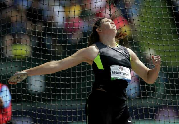 Stephanie Brown Tafton competes during the women's discus throw finals at the U.S. Olympic Track and Field Trials Sunday, June 24, 2012, in Eugene, Ore. (AP Photo/Matt Slocum) Photo: Associated Press