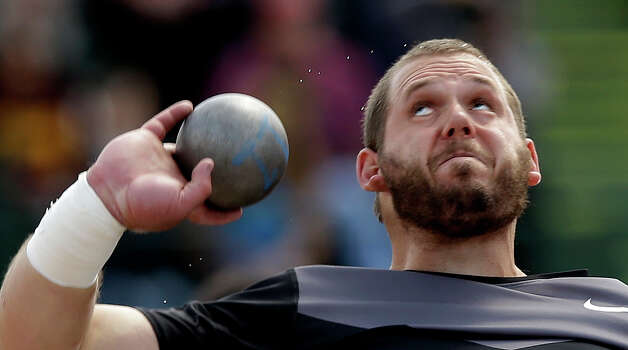 Ryan Whiting competes in the men's shot put finals at the U.S. Olympic Track and Field Trials Sunday, June 24, 2012, in Eugene, Ore. (AP Photo/Charlie Riedel) Photo: Associated Press