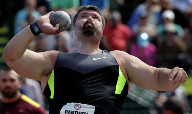 Christian Cantwell competes in the men's shot put finals at the U.S. Olympic Track and Field Trials Sunday, June 24, 2012, in Eugene, Ore. (AP Photo/Charlie Riedel) Photo: Associated Press