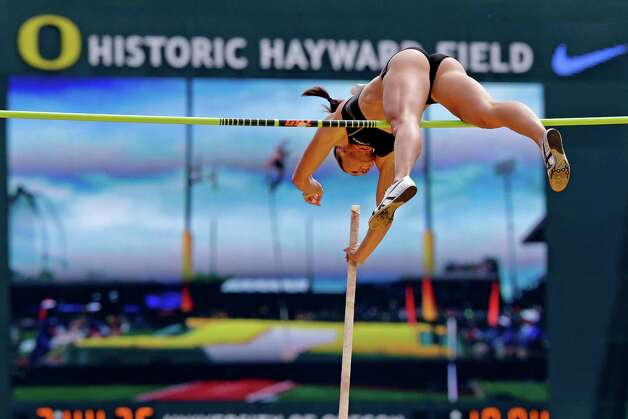 April Bennett competes in the women's pole vault at the U.S. Olympic Track and Field Trials Sunday, June 24, 2012, in Eugene, Ore. (AP Photo/Charlie Riedel) Photo: Associated Press