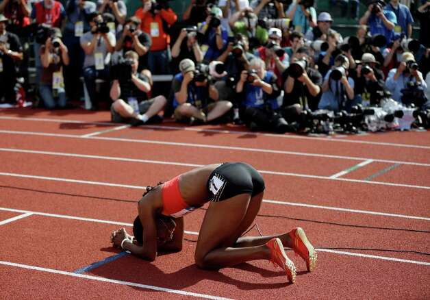 Dee Dee Trotter reacts after the women's 400m finals at the U.S. Olympic Track and Field Trials Sunday, June 24, 2012, in Eugene, Ore. (AP Photo/Matt Slocum) Photo: Associated Press