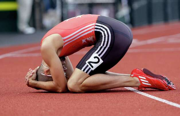 Jeremy Wariner reacts after the men's 400m finals at the U.S. Olympic Track and Field Trials Sunday, June 24, 2012, in Eugene, Ore. (AP Photo/Eric Gay) Photo: Associated Press