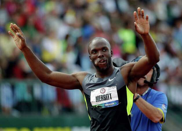 LaShawn Merritt reacts after the men's 400m finals at the U.S. Olympic Track and Field Trials Sunday, June 24, 2012, in Eugene, Ore. (AP Photo/Marcio Jose Sanchez) Photo: Associated Press