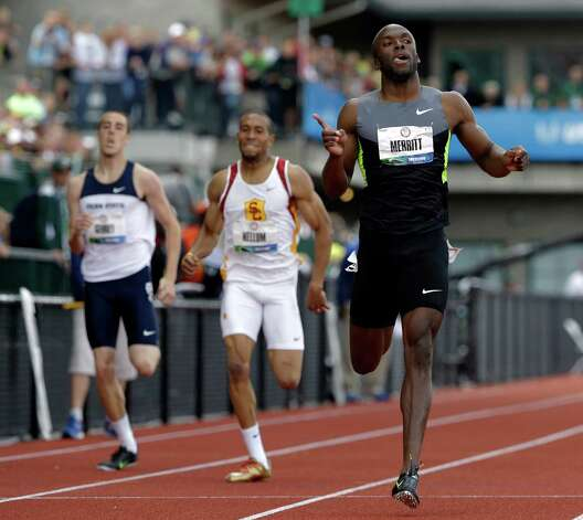LaShawn Merritt reacts after the men's 400m finals at the U.S. Olympic Track and Field Trials Sunday, June 24, 2012, in Eugene, Ore. (AP Photo/Eric Gay) Photo: Associated Press