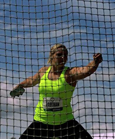 Shelbi Vaughan competes at the women's discus finals at the U.S. Olympic Track and Field Trials Sunday, June 24, 2012, in Eugene, Ore. (AP Photo/Matt Slocum) Photo: Associated Press