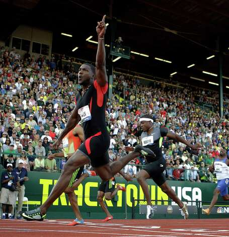 Justin Gatlin reacts after winning the men's 100m finals at the U.S. Olympic Track and Field Trials Sunday, June 24, 2012, in Eugene, Ore. (AP Photo/Matt Slocum) Photo: Associated Press