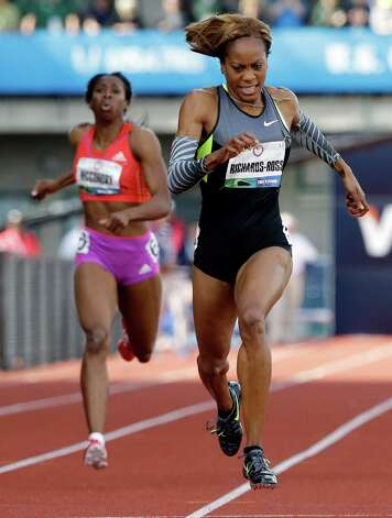 Sanya Richards-Ross competes in the women's 400m finals at the U.S. Olympic Track and Field Trials Sunday, June 24, 2012, in Eugene, Ore. (AP Photo/Eric Gay) Photo: Associated Press