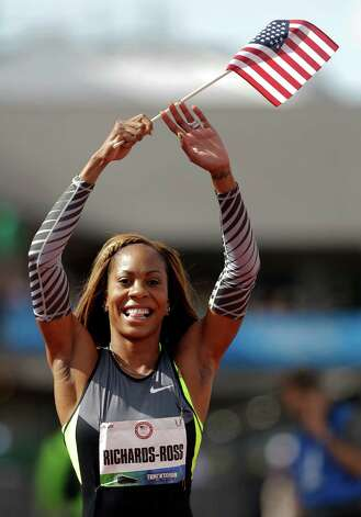 Sanya Richards-Ross reacts after the women's 400m finals at the U.S. Olympic Track and Field Trials Sunday, June 24, 2012, in Eugene, Ore. (AP Photo/Marcio Jose Sanchez) Photo: Associated Press