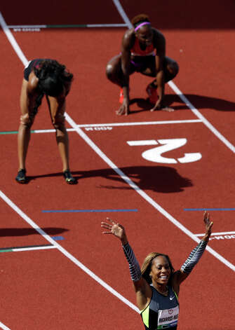 Sanya Richards-Ross reacts after the women's 400m finals at the U.S. Olympic Track and Field Trials Sunday, June 24, 2012, in Eugene, Ore. (AP Photo/Charlie Riedel) Photo: Associated Press