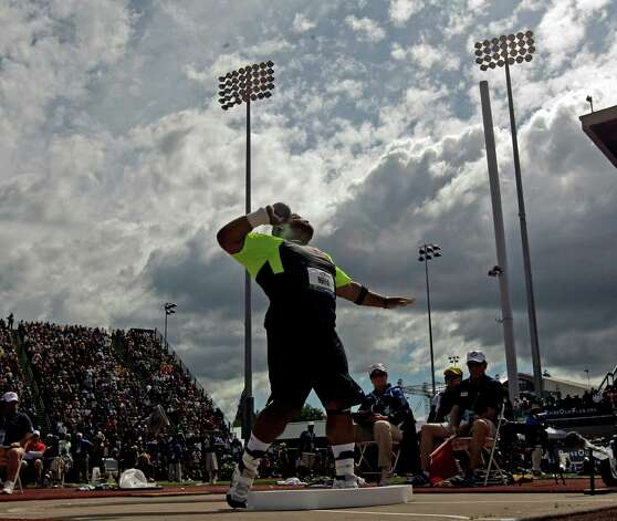 Reese Hoffa competes in the men's shot put at the U.S. Olympic Track and Field Trials Sunday, June 24, 2012, in Eugene, Ore. (AP Photo/Charlie Riedel) Photo: Associated Press