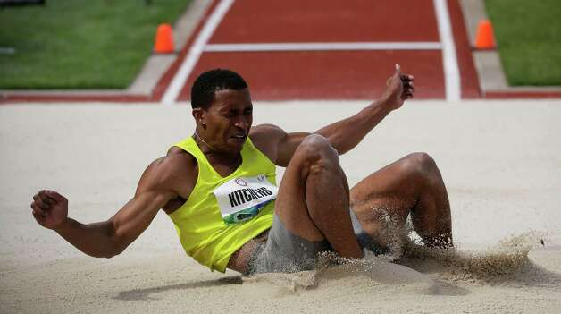 George Kitchens Jr., participates in the men's long jump finals at the U.S. Olympic Track and Field Trials Sunday, June 24, 2012, in Eugene, Ore. (AP Photo/Matt Slocum) Photo: Associated Press