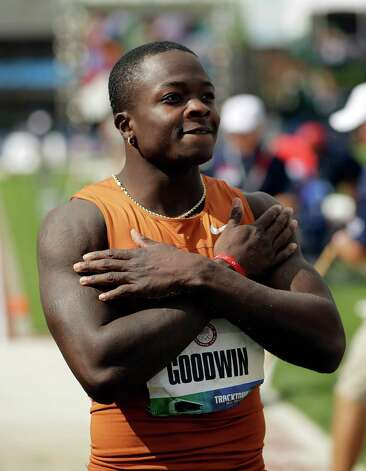 Marquise Goodwin reacts in the men's long jump finals at the U.S. Olympic Track and Field Trials Sunday, June 24, 2012, in Eugene, Ore. (AP Photo/Matt Slocum) Photo: Associated Press