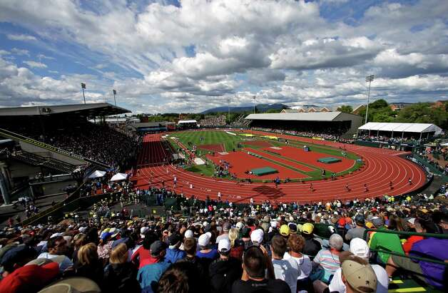 Hayward Field is seen during the U.S. Olympic Track and Field Trials Sunday, June 24, 2012, in Eugene, Ore. (AP Photo/Charlie Riedel) Photo: Associated Press