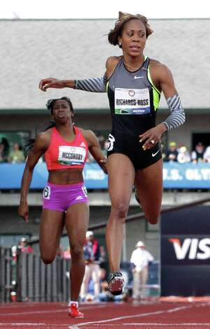 Sanya Richards-Ross and Francena McCorory run in the women's 400m finals at the U.S. Olympic Track and Field Trials Sunday, June 24, 2012, in Eugene, Ore. (AP Photo/Eric Gay) Photo: Associated Press