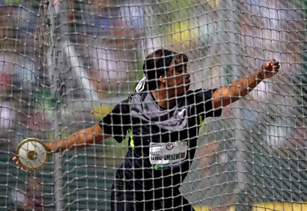 Gia Lewis-Smallwood participates in the women's discus finals at the U.S. Olympic Track and Field Trials Sunday, June 24, 2012, in Eugene, Ore. (AP Photo/Matt Slocum) Photo: Associated Press