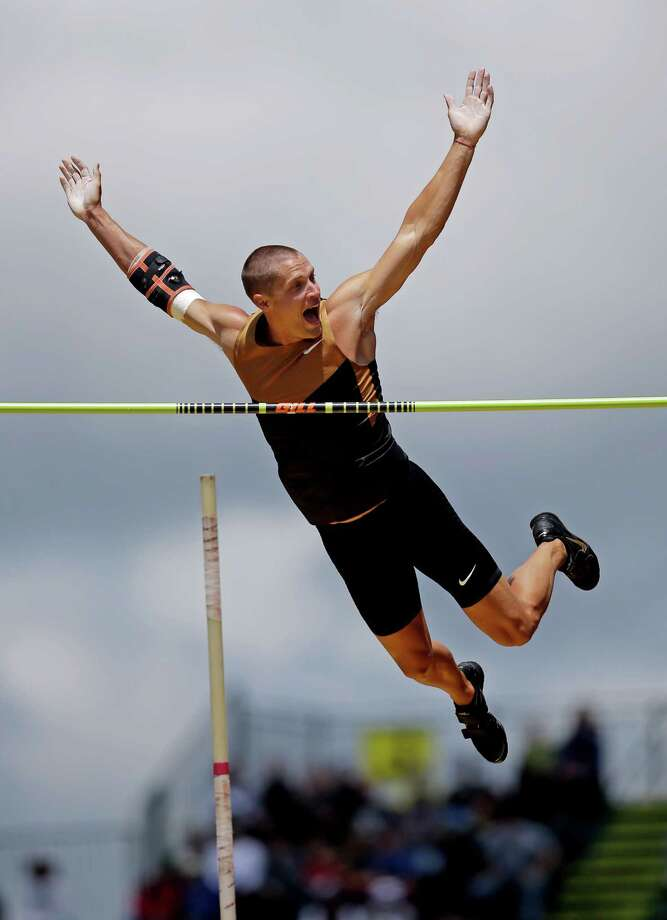 Trey Hardee reacts after clearing the bar while pole vaulting during the decathlon competition at the U.S. Olympic Track and Field Trials Saturday, June 23, 2012, in Eugene, Ore. Photo: Matt Slocum, Associated Press / AP