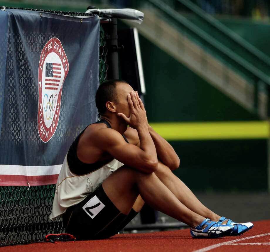 Bryan Clay reacts after the 110m hurdles during the decathlon competition at the U.S. Olympic Track and Field Trials Saturday, June 23, 2012, in Eugene, Ore. Photo: Matt Slocum, Associated Press / AP
