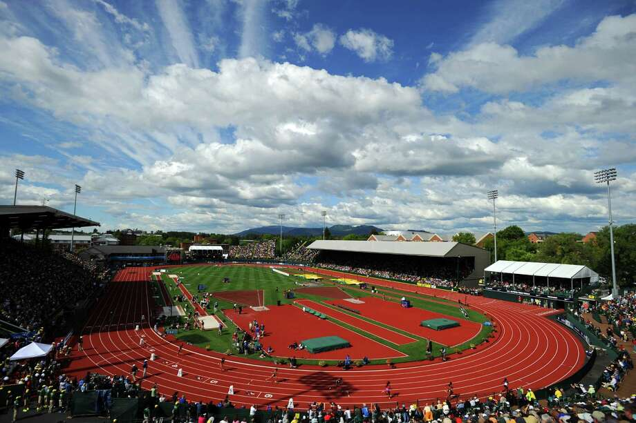 Athletes compete in the women's 400 meter dash final during Day Three of the 2012 U.S. Olympic Track & Field Team Trials at Hayward Field on June 24, 2012 in Eugene, Oregon. Photo: Michael Heiman, Getty Images / 2012 Getty Images
