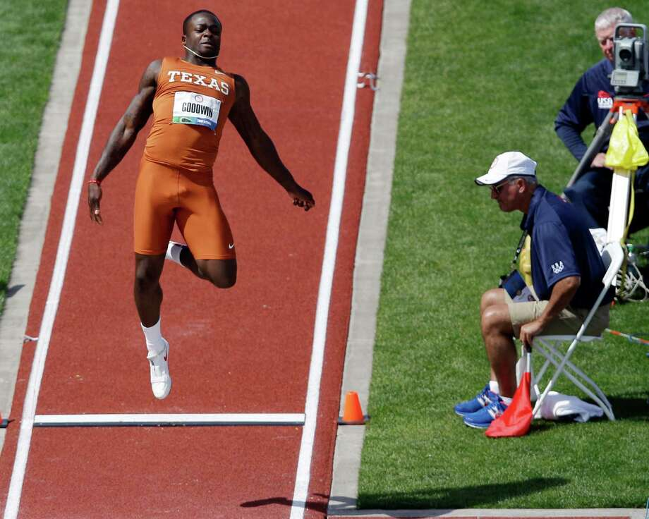 Marquise Goodwin of the University of Texas competes in the men's long jump finals at the U.S. Olympic Track and Field Trials Sunday, June 24, 2012, in Eugene, Ore. Photo: Marcio Jose Sanchez, Associated Press / AP