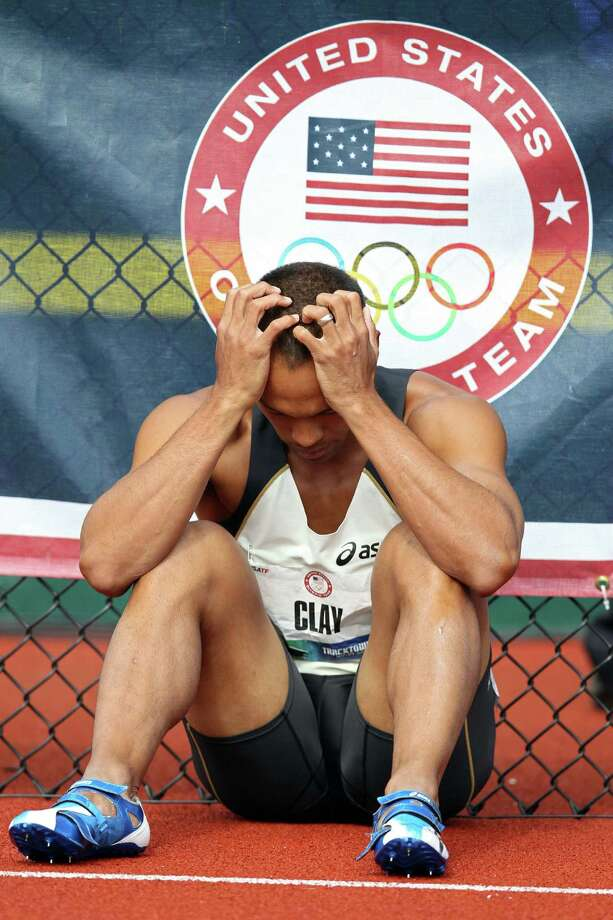 Bryan Clay reacts after getting disqualified in the men's decathlon 110 meter hurdles during Day Two of the 2012 U.S. Olympic Track & Field Team Trials at Hayward Field on June 23, 2012 in Eugene, Oregon. Photo: Christian Petersen, Getty Images / 2012 Getty Images