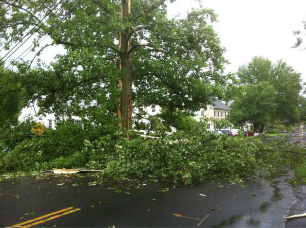 A tree fell across the street on Walter Avenue in Norwalk, Conn. during a severe thunderstorm the morning of Monday, June 25, 2012. Photo: Scott Ericson