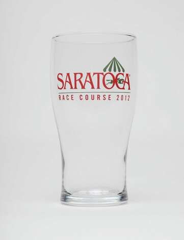 Saratoga pilsner glass is the Saratoga Race Course giveaway for Sunday Aug. 19, 2012. Photo taken Monday June 25, 2012 in Colonie, N.Y. (Will Waldron / Times Union)
