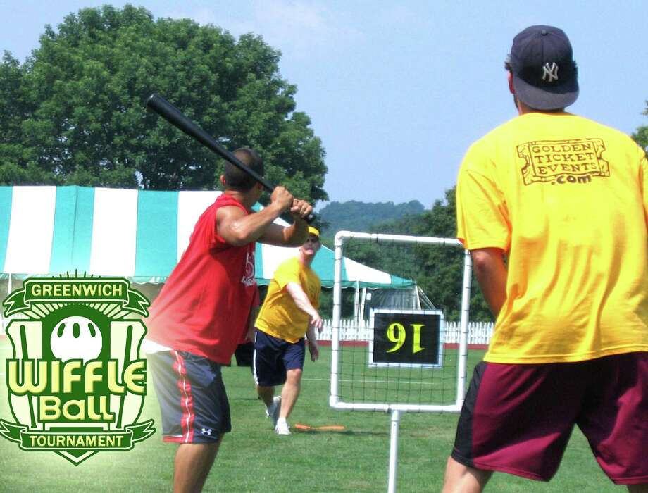 The fifth annual town-wide Greenwich Wiffle Ball Tournament will take place Saturday, July 21 at the Greenwich Polo Club on Hurlingham Drive, with a rain date of Sunday July 22.  Above is a photo from a previous tourney. Photo: Contributed Photo