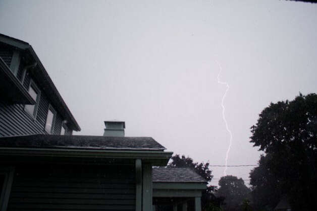 Lightning over Branford.  Credit: Mason/WTNH Report It Photo: Contributed