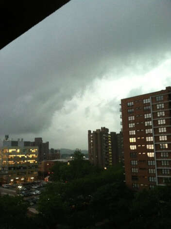 Storm clouds over Yale-New Haven Hospital.  Credit: Randy Brown/WTNH Report It Photo: Contributed